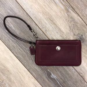 Coach | Burgundy Wine Pebbled Leather Wristlet